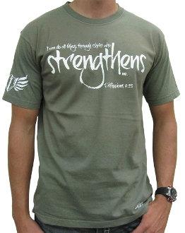 Christ Who Strengthens Me Men's Christian T-shirt- Army Green