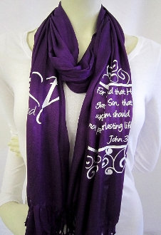 For God So Loved The World Scarf- Purple