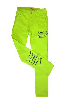Wisdom Will Enter Your Heart Skinny Jeans- Neon Green