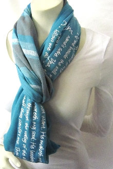 Psalm 23 Striped Infinity Scarves- Sky
