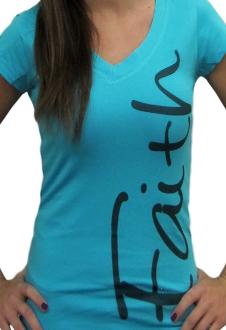 Faith V-Neck Christian T Shirt- Turquoise