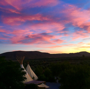 Sunset over teepees