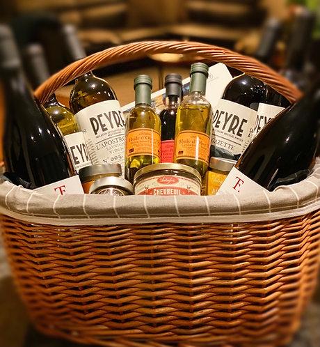 Panier cadeau vin et épicerie fine