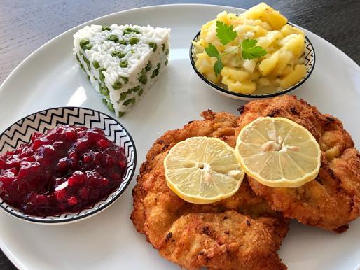 Wiener Schnitzel mit Reis und Kartoffeln