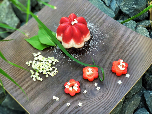 Erdbeeren-Holunder-Topfen-Törtchen