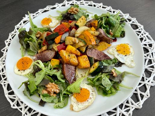 Steak-Salat mit Kürbisgemüse
