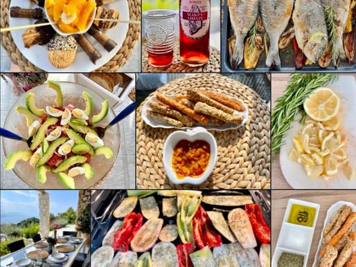 Goldbrasse mit Auberginen & Salat