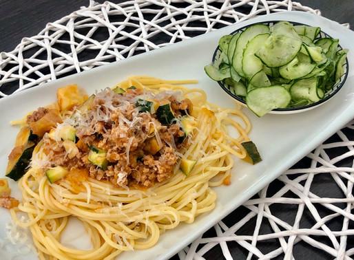 Spaghetti mit Kürbis-Zucchini-Lamm-Ragout