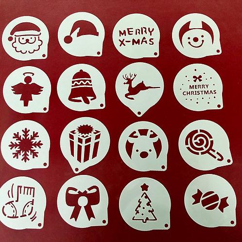 16-teiliges weihnachtsliches Schablonen-Set