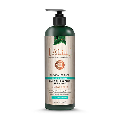 [A'kin] Mild & Gentle Fragrance Free Shampoo - 500ml