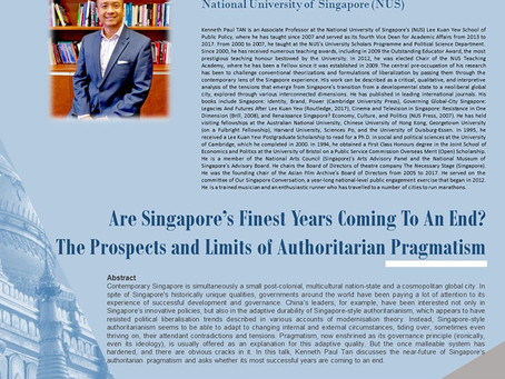 Gave a public lecture on Singapore politics at City University of Hong Kong, 23 September 2019
