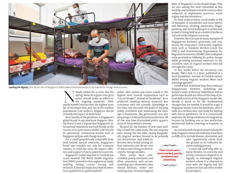 Wrote a commentary on the pandemic and Singapore's migrant worker dormitories, The Hindu, 9 May 2020
