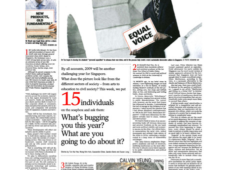 """Profiled by The Straits Times as one of 15 """"movers and shakers"""" of 2008, 3 January 2009"""