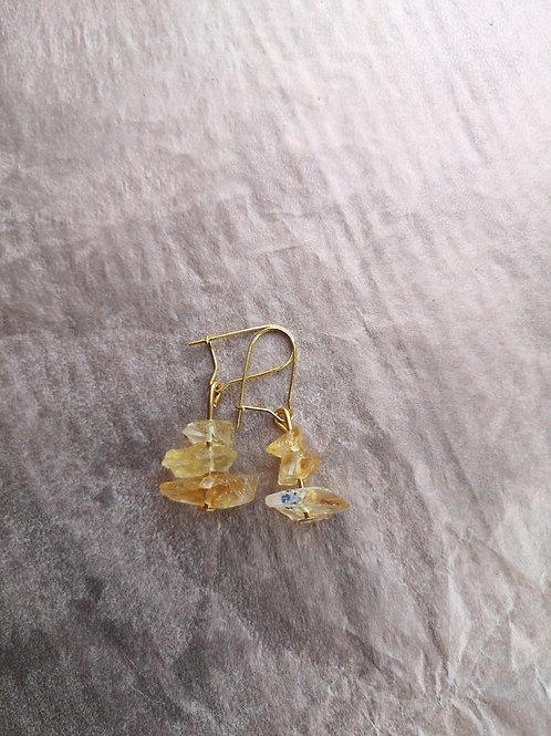 Raw 'Citrine' Gold Earrings