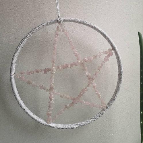 Rose Quartz Pentagram Wall hanging