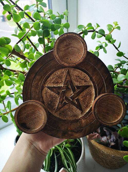 Pentagram triple tea light holder