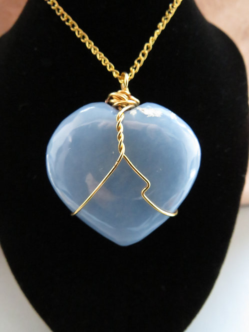 Angelite Heart Gold