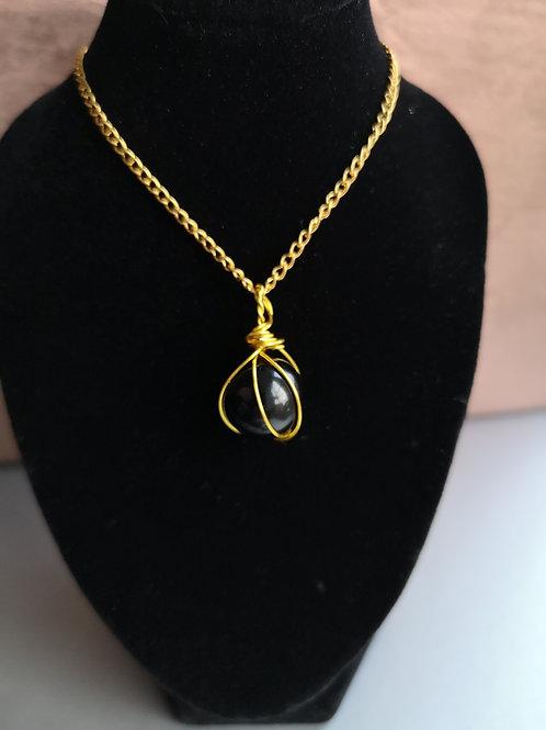 Black Obsidian Sphere Gold