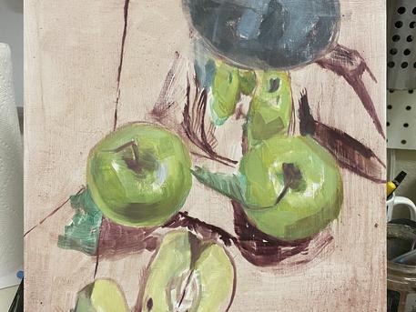 Apple & Jug Still Life I, progress steps