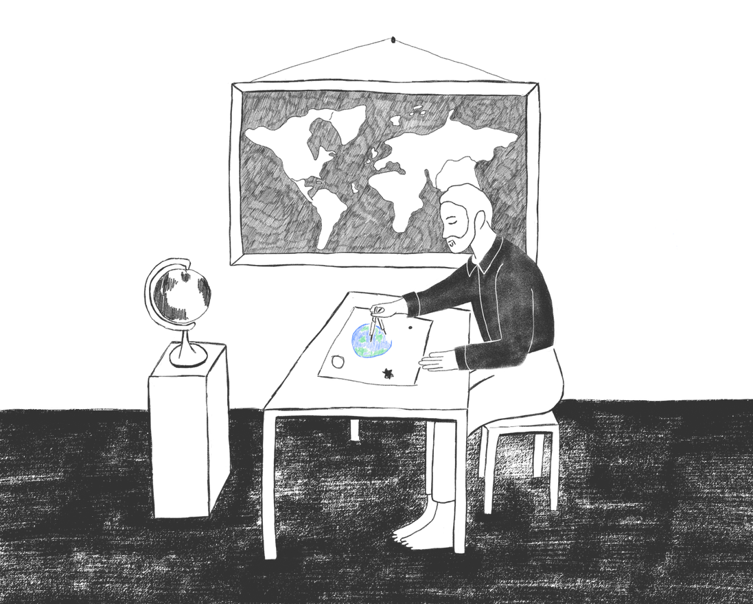 The world is round - book illustration