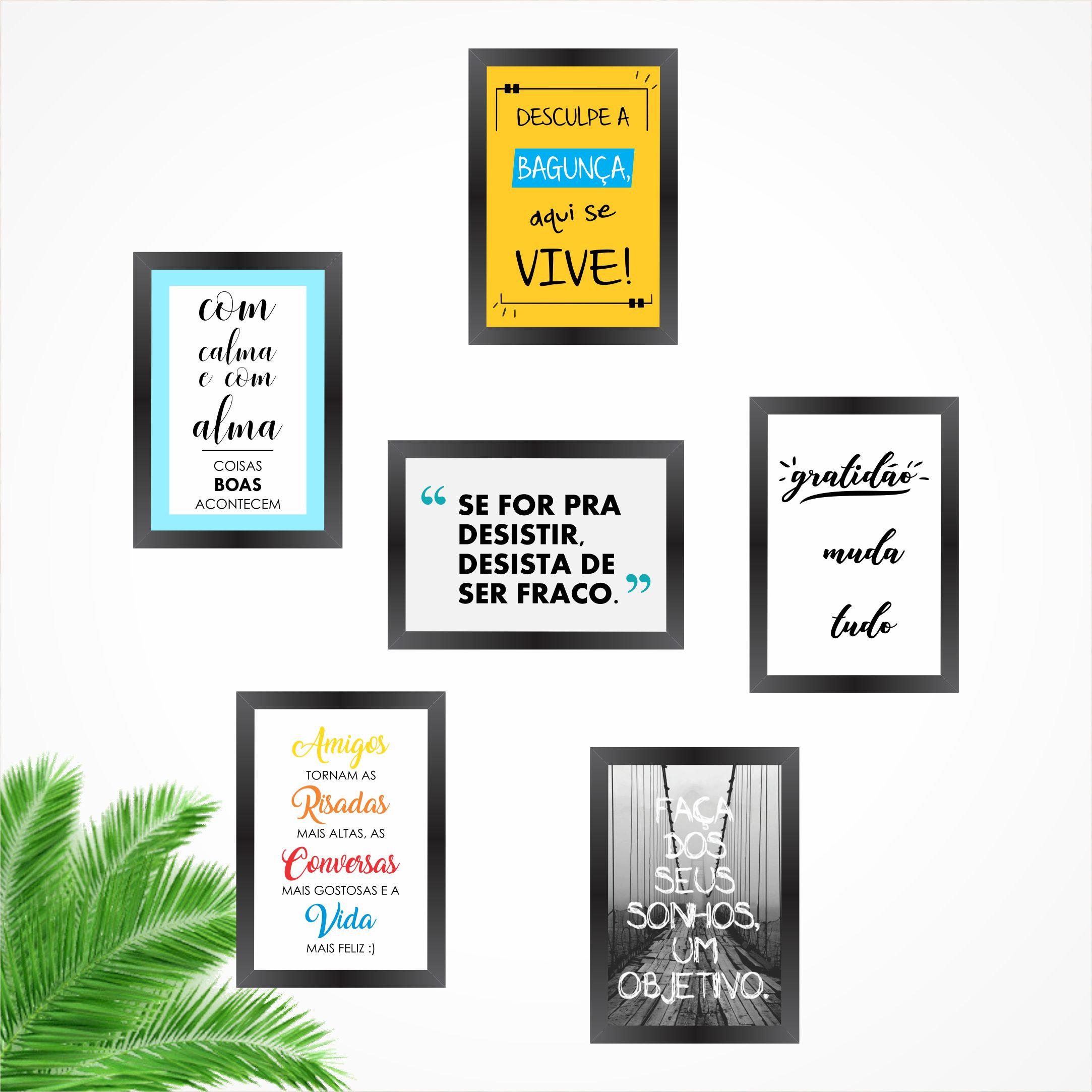 Composição 6 Quadros Decorativos Frases Motivação Divertidas