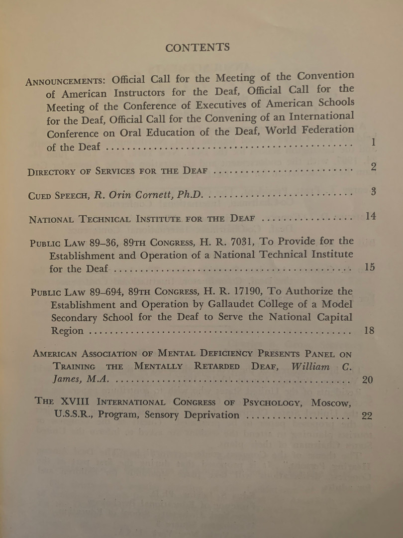 Table of Contents; American Annals of the Deaf (January 1967)