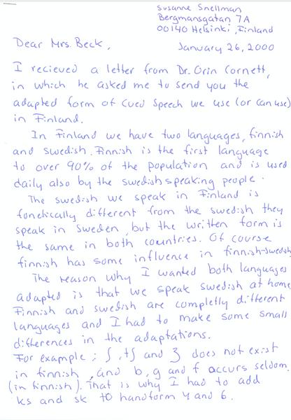 Correspondence on Fenno-Swedish