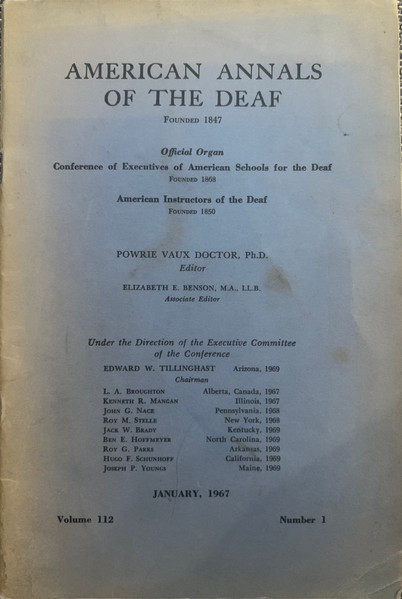 Cover of the American Annals of the Deaf (Vol. 112; No. 1) January, 1967