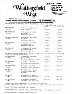 Weathersfield West Model Prices