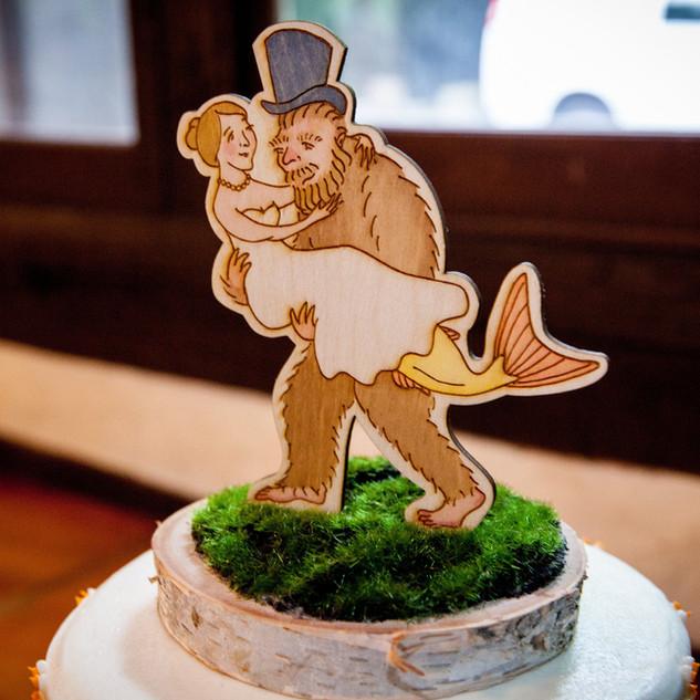 Custom mermaid/sasquatch cake topper