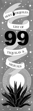 Tequila and Mezcal Menu for Holy Frijoles, front, 2017