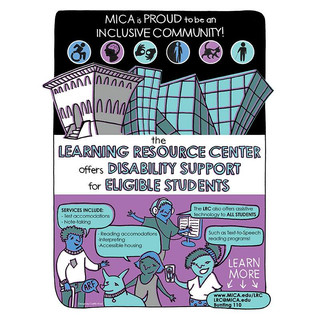 Flyer for the Learning Resource Center at MICA, 2017
