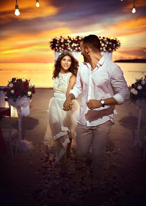 Sunset wedding on the Sunset Beach, Shangri-La's Tanjung Aru Resort & Spa