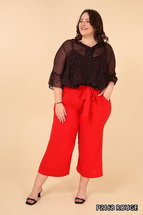Pantalon palazzo rouge grande taille - Belle en XL la mode grande taille.