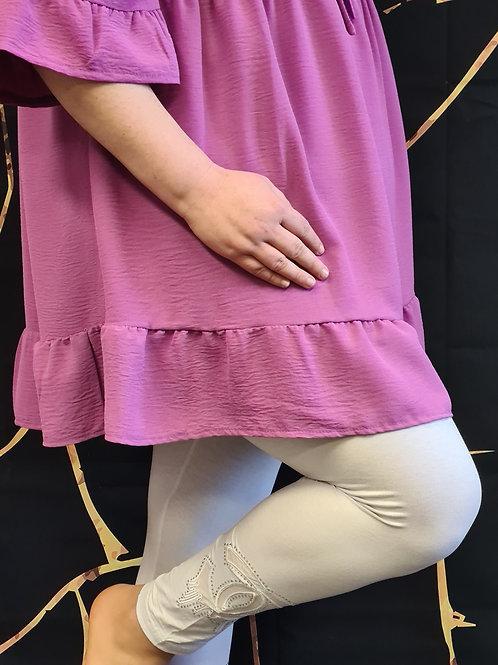 Legging Pomme Rouge en blanc. Grande tailles. Belle en XL.