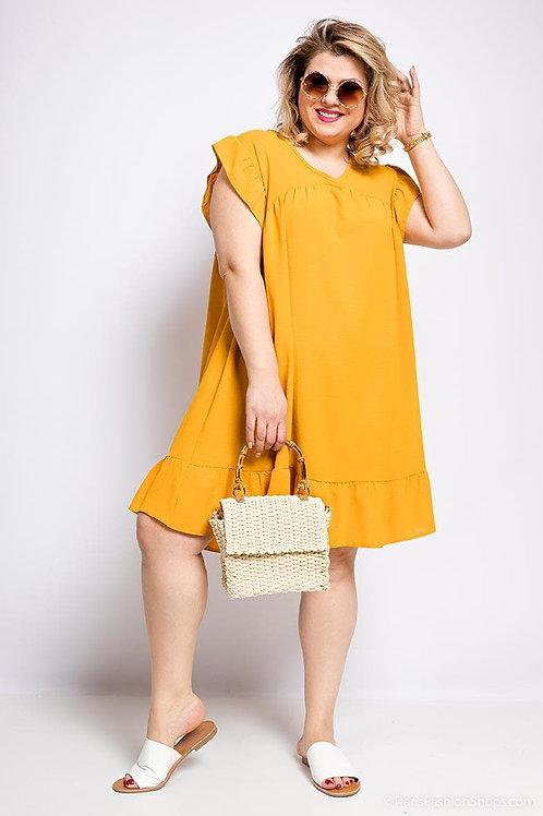 Robe moutarde grande taille - Belle en XL.