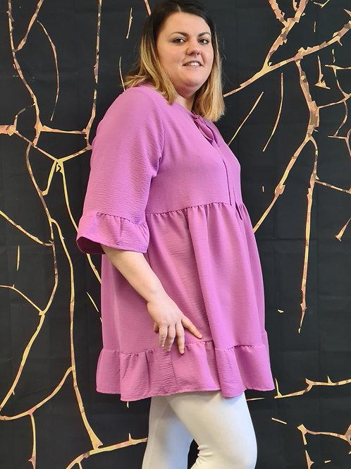 Tunique robe couleur lilas. Belle en XL la mode grande taille.