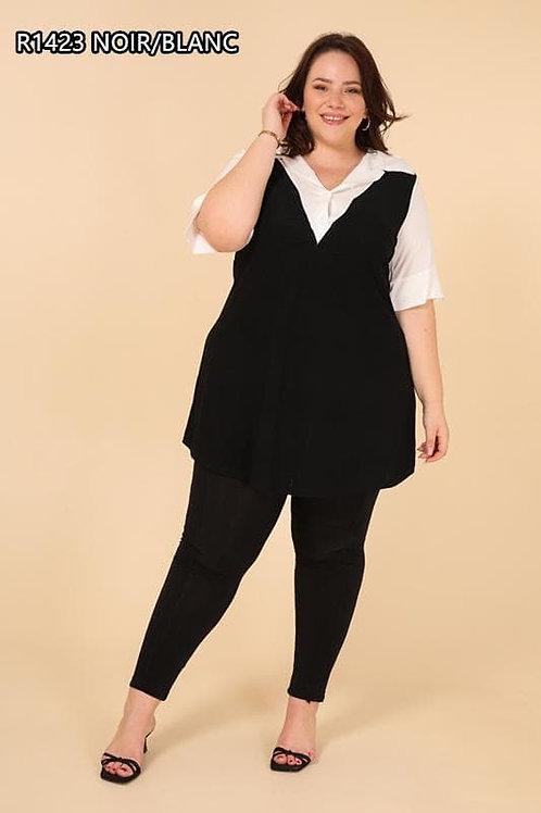 Tunique manches courtes noir et blanc grande taille.