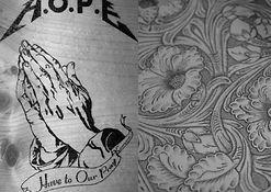 ウッド/レザーバーニング「HOPE&FLOWER」