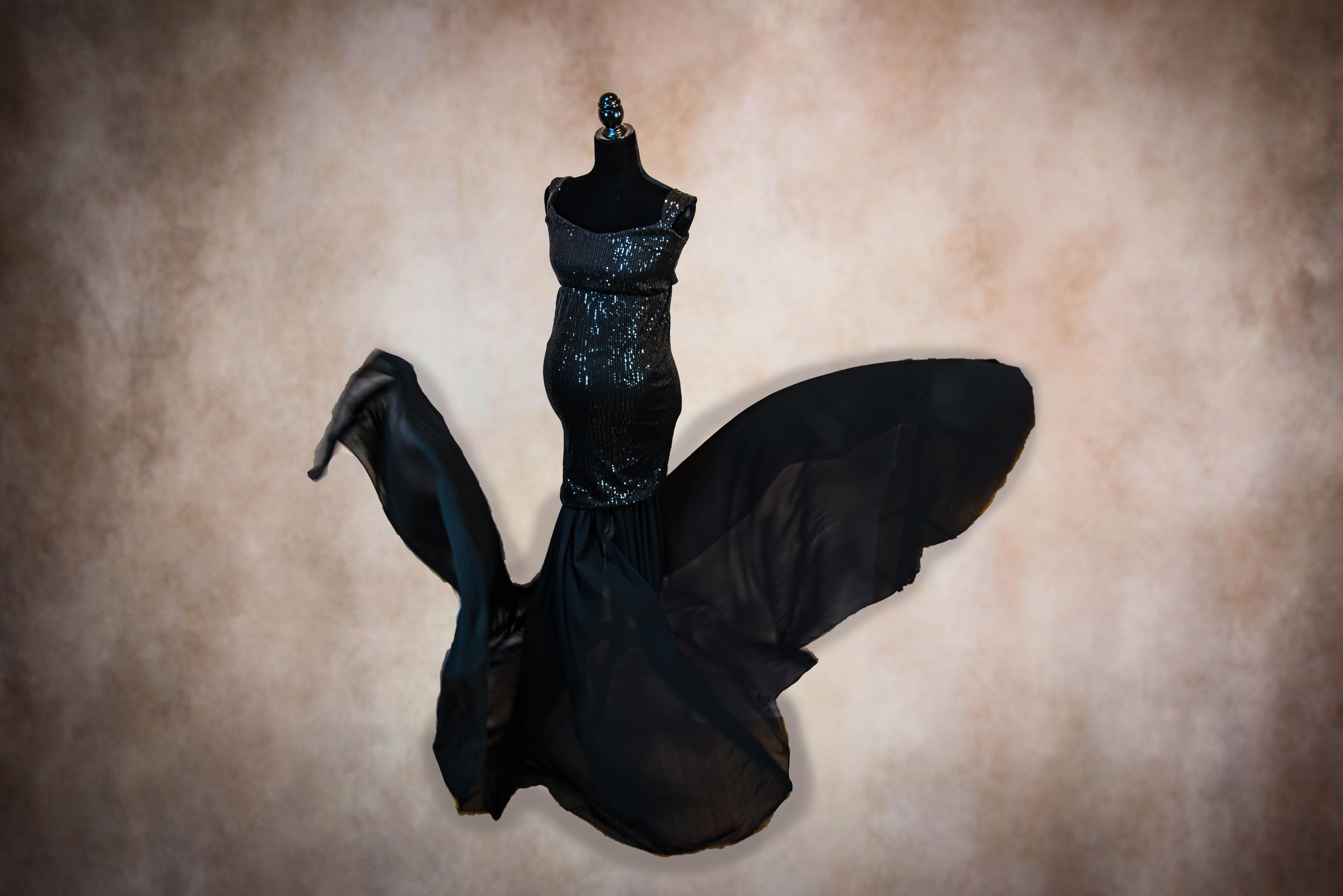 Black Marilyn Maternity Gown