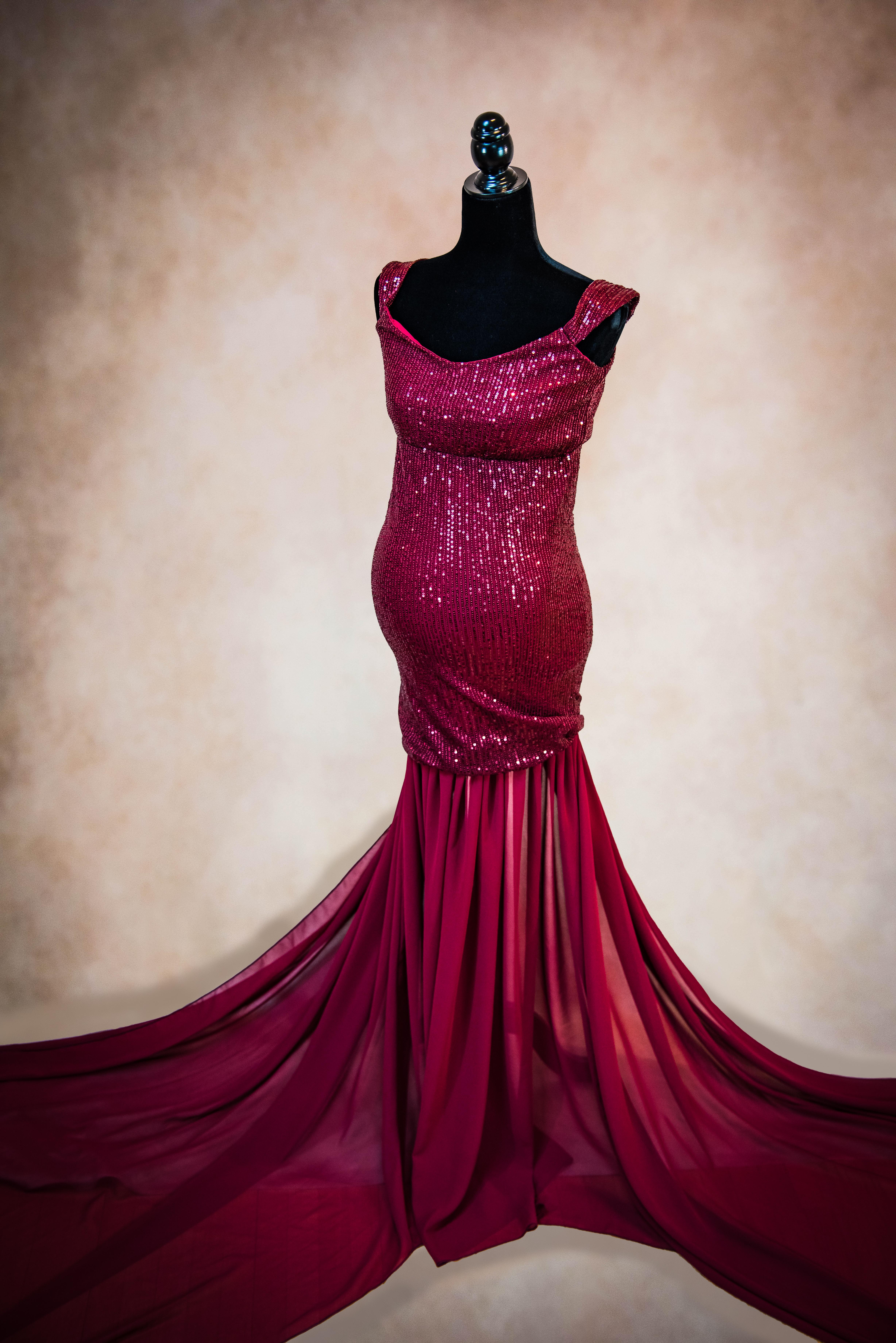 Burgundy Marilyn Maternity Gown