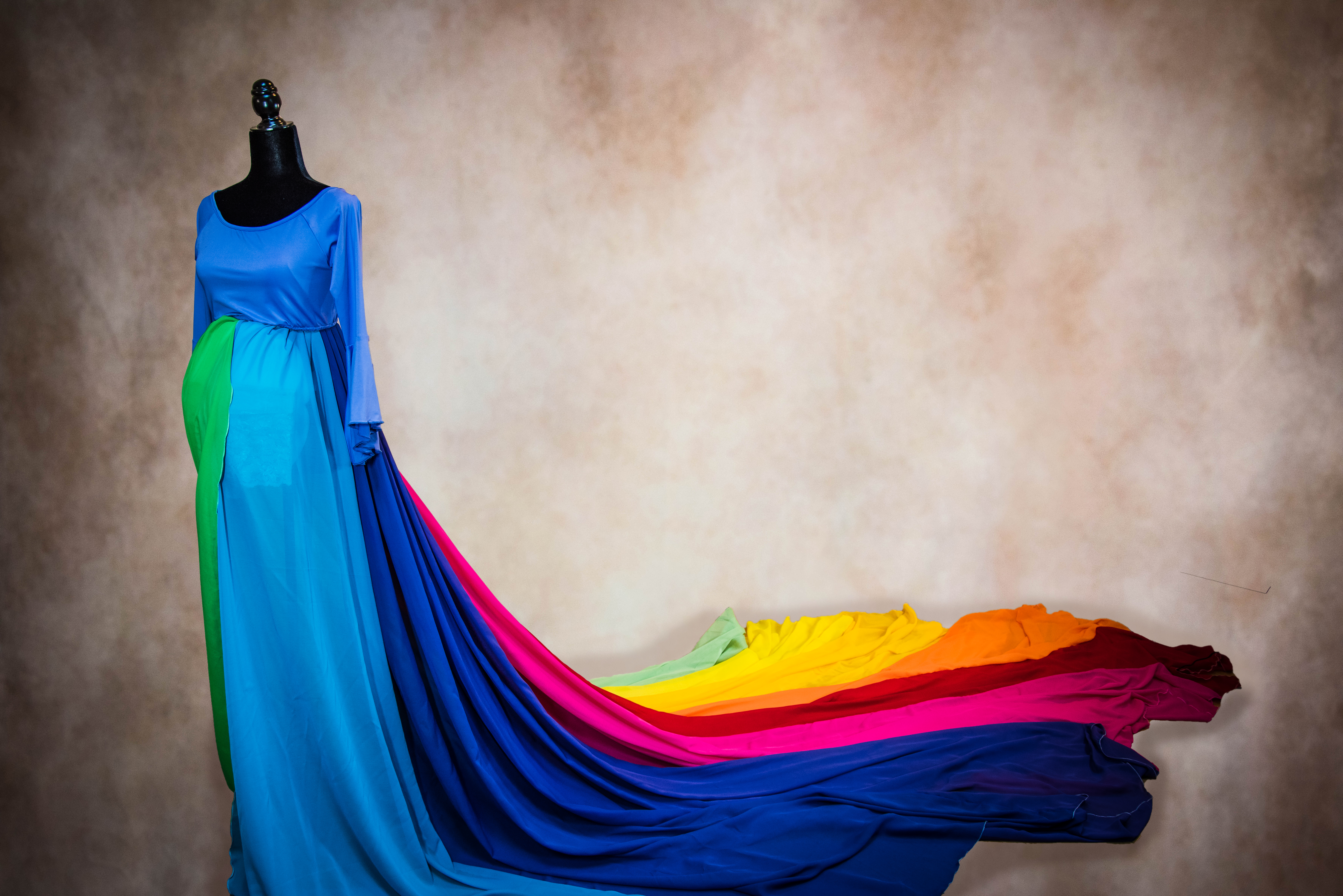 Rainbow Skirt with Blue Top