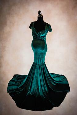 Hunger Green Convertible Velvet Maternity Gown