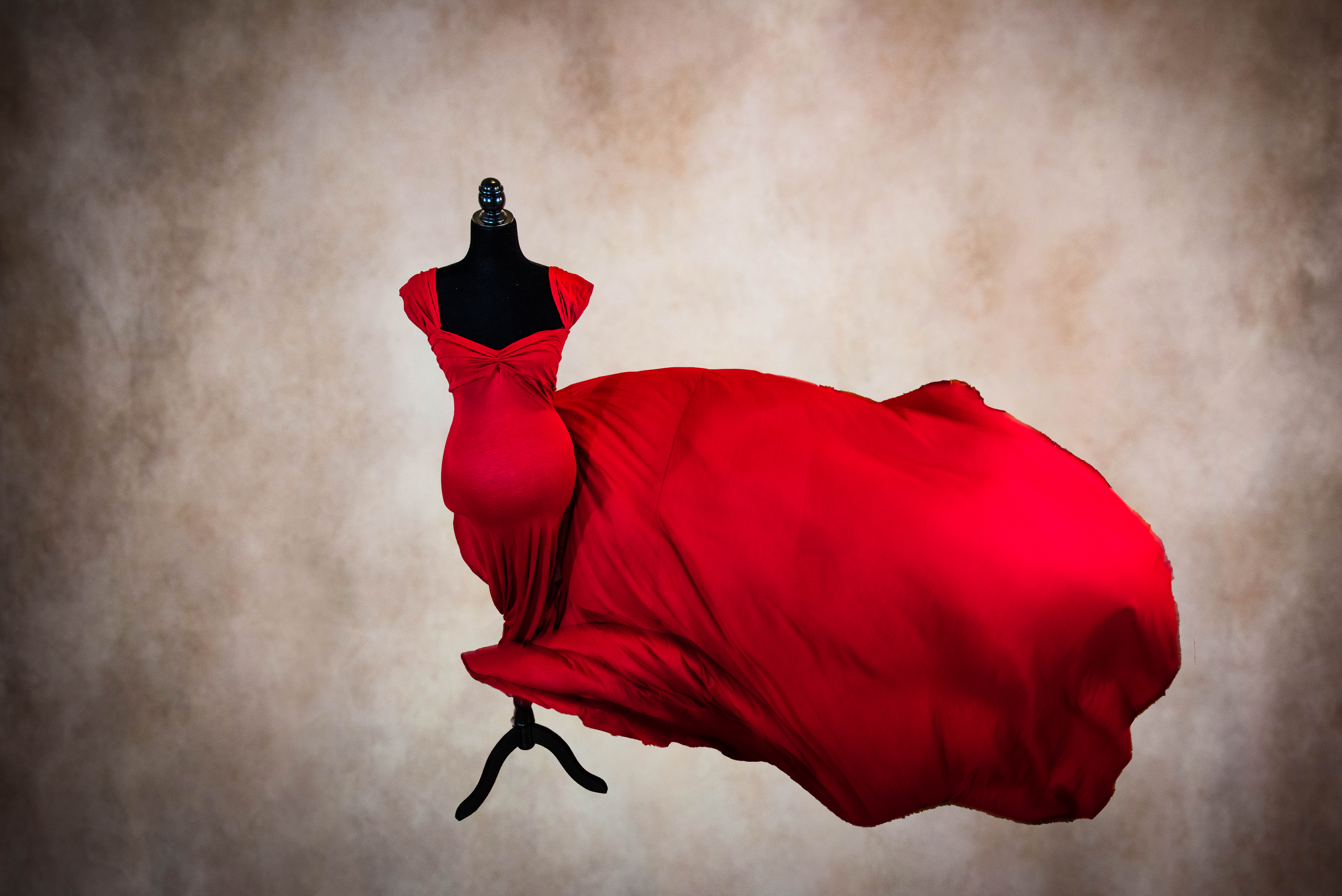 Red Full Length Maternity Gown