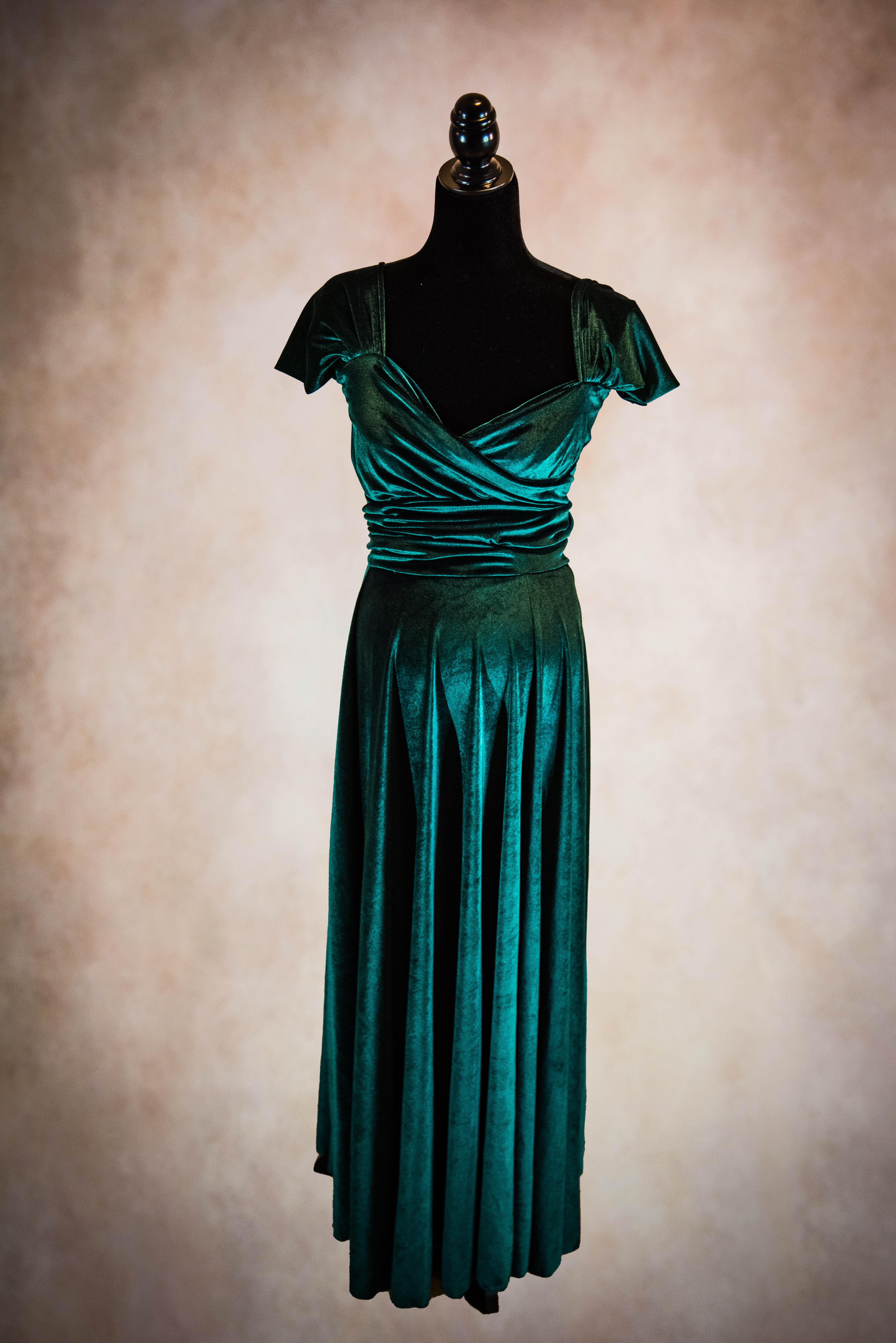 Hunter Green Velvet Convertible Maternity Gown