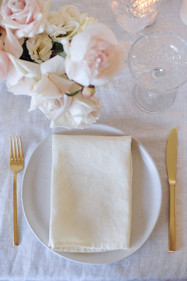White Open Weave French Linen Table Cloth