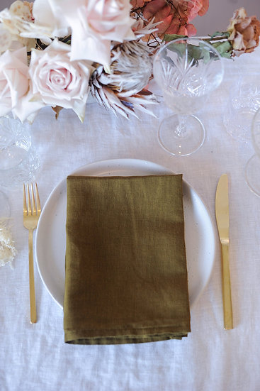 Olive French Linen Napkin