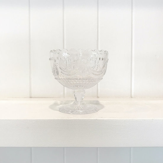 Pressed glass footed dessert bowls