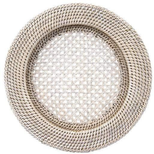 Rattan Whitewash Charger Plate