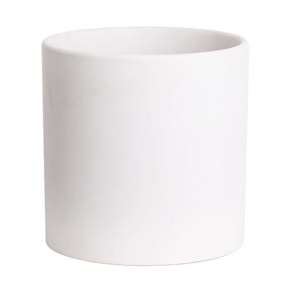 Large white ceramic vase cylindrical